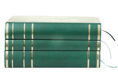Three green blan books isolated on white background. Stock Photo - 9731130