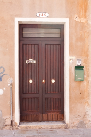 Old closed door in Venice, Italy. photo