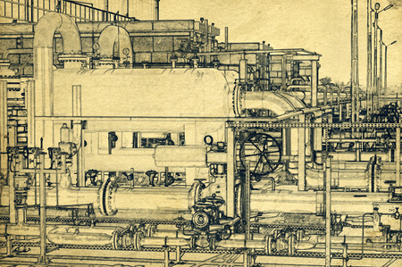 line drawing: Gas storage and pipeline - line drawing Archivio Fotografico