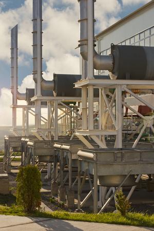 Natural gas compressor station during sunset