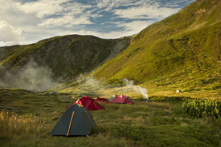 Tents Camping area, early morning, beautiful natural place Stock Photo