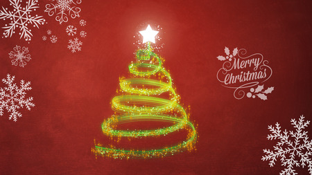 Christmas tree on red background with snowflakes
