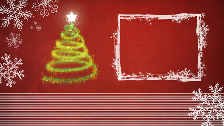Christmas tree on red background with white frame