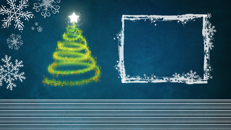 Green Christmas tree on the blue background with white frame