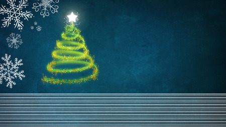 Green Christmas tree on blue background