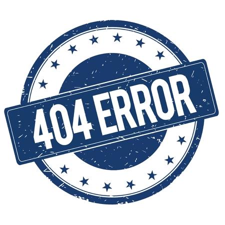 404 ERROR 스탬프 기호 텍스트 단어 로고 파란색. 스톡 콘텐츠