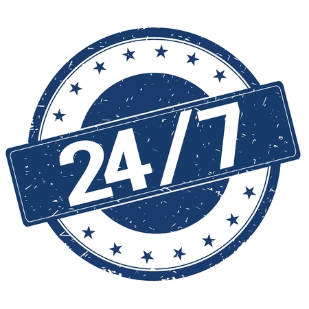 24 7 stamp sign text word logo blue.