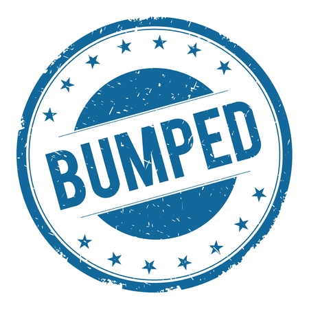 BUMPED stamp sign text word logo blue. Stock Photo