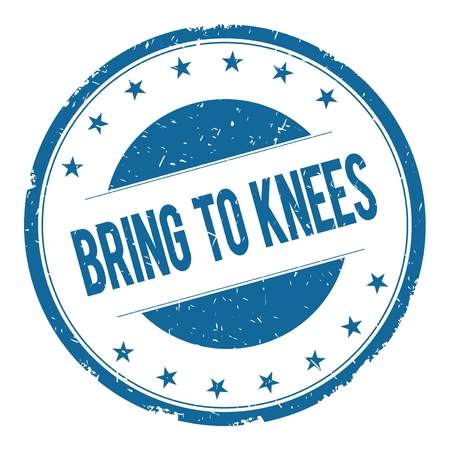 bring: BRING TO KNEES stamp sign text word logo blue. Stock Photo