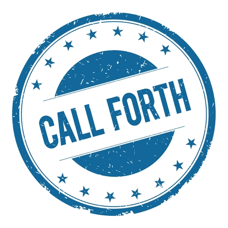 forth: CALL FORTH stamp sign text word logo blue.
