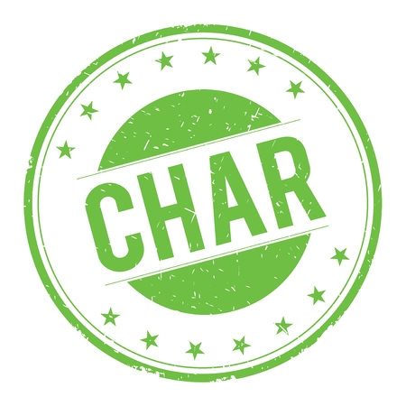 CHAR stamp sign text word logo green.