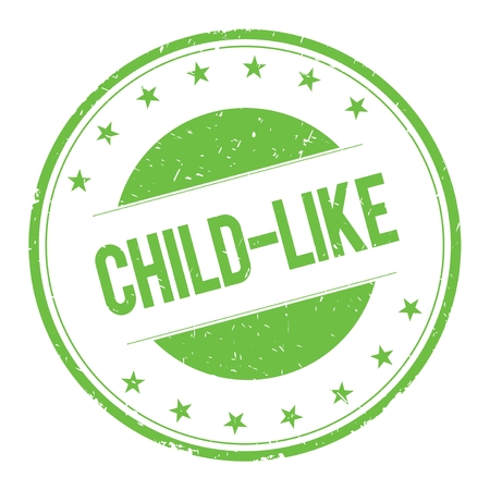 childlike: CHILD-LIKE stamp sign text word logo green.