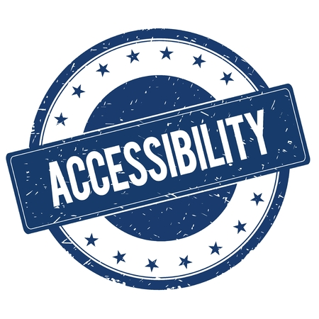accessibility: ACCESSIBILITY stamp sign text word logo blue. Stock Photo