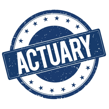 actuary: ACTUARY stamp sign text word logo blue.