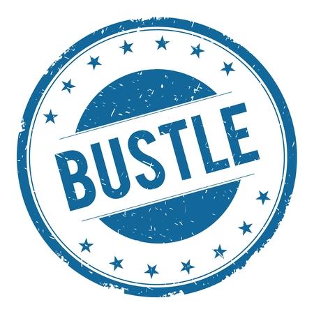 bustle: BUSTLE stamp sign text word logo blue.
