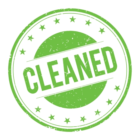 cleaned: CLEANED stamp sign text word logo green.