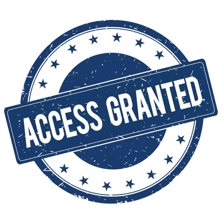 granted: ACCESS GRANTED stamp sign text word logo blue.
