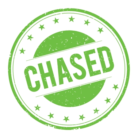 CHASED stamp sign text word logo green.