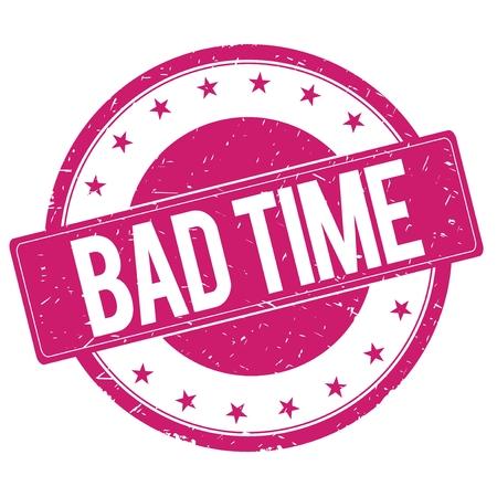 magenta: BAD-TIME stamp sign text word logo magenta pink. Stock Photo