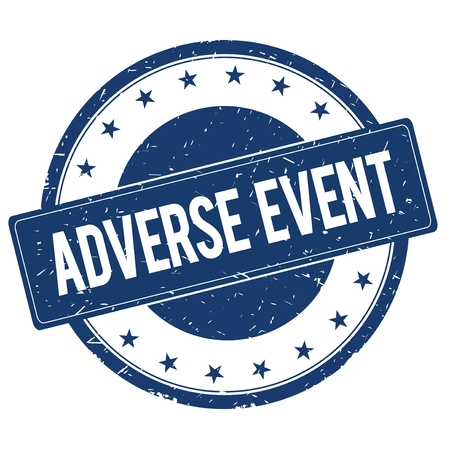 adverse: ADVERSE EVENT stamp sign text word logo blue. Stock Photo