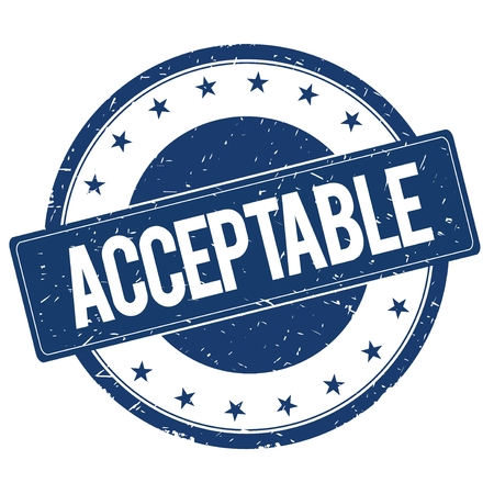 acceptable: ACCEPTABLE stamp sign text word logo blue. Stock Photo
