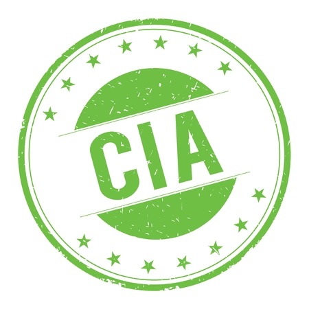 CIA stamp sign text word logo green.