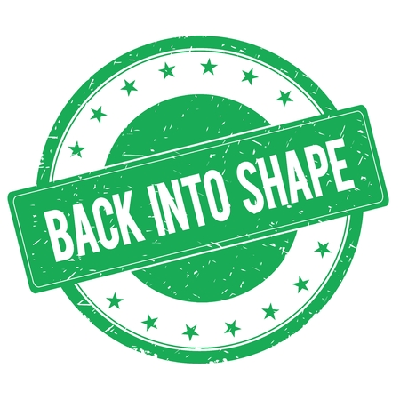 into: BACK INTO SHAPE stamp sign text word logo green.