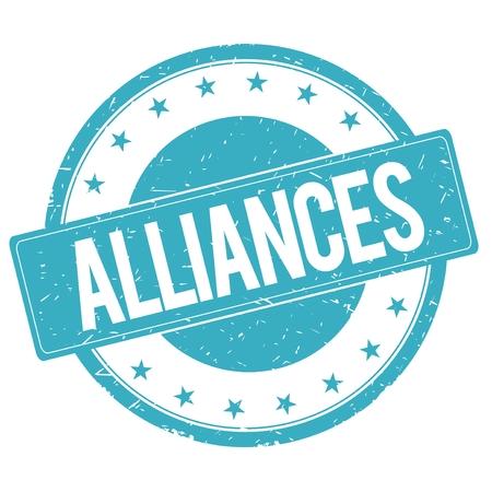 alliances: ALLIANCES stamp sign text word logo cyan blue.