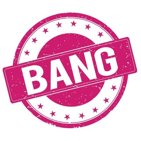 magenta: BANG stamp sign text word logo magenta pink. Stock Photo