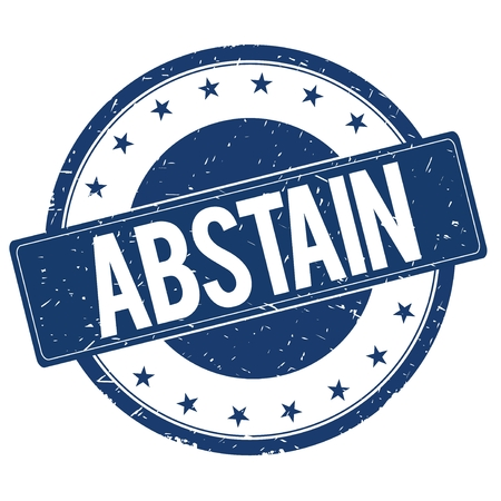 abstain: ABSTAIN stamp sign text word logo blue.