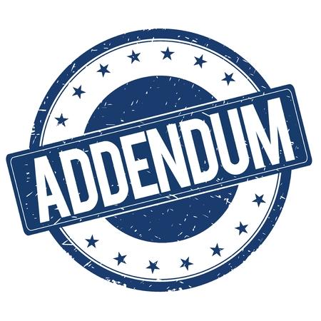 addendum: ADDENDUM stamp sign text word logo blue. Stock Photo