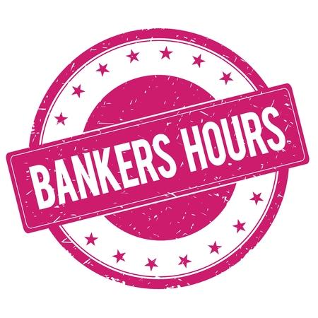 magenta: BANKERS-HOURS stamp sign text word logo magenta pink.