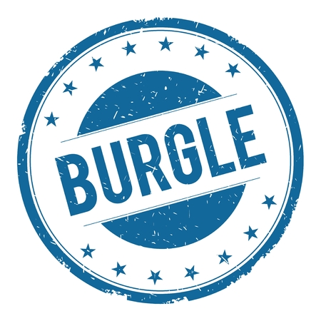 burgle: BURGLE stamp sign text word logo blue. Stock Photo