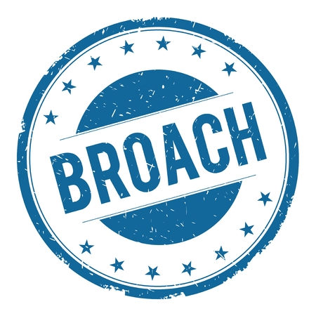 broach: BROACH stamp sign text word logo blue. Stock Photo