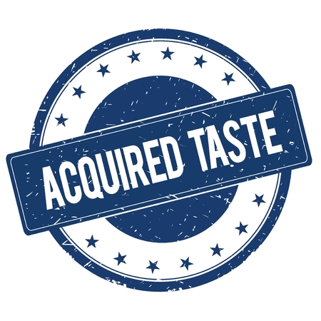 acquired: ACQUIRED TASTE stamp sign text word logo blue.