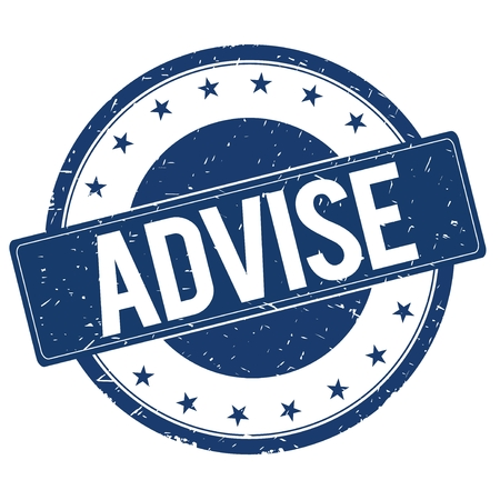advise: ADVISE stamp sign text word logo blue.