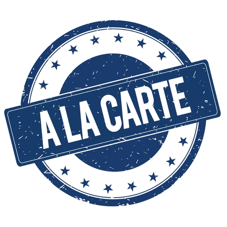 A LA CARTE stamp sign text word logo blue. Stock Photo