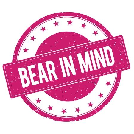 magenta: BEAR-IN-MIND stamp sign text word logo magenta pink.