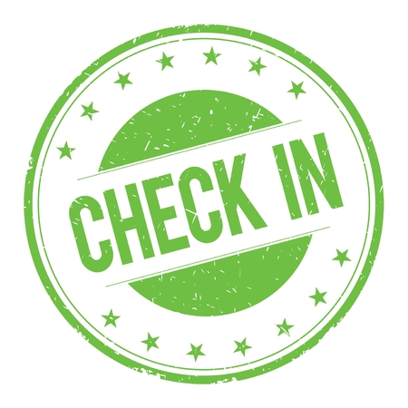 word: CHECK-IN stamp sign text word logo green.
