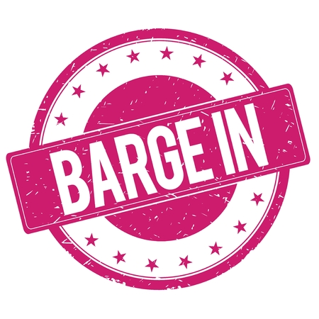 BARGE-IN stamp sign text word logo magenta pink. Фото со стока