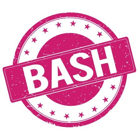 BASH stamp sign text word logo magenta pink. Stock Photo