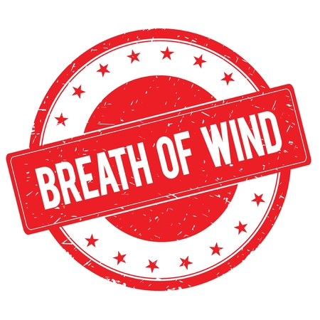 breath: BREATH OF WIND stamp sign text word logo red. Stock Photo