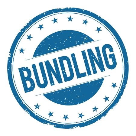 bundling: BUNDLING stamp sign text word logo blue.