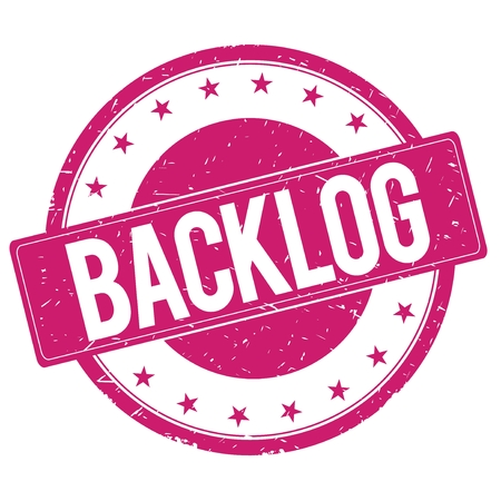 backlog: BACKLOG stamp sign text word logo magenta pink. Stock Photo