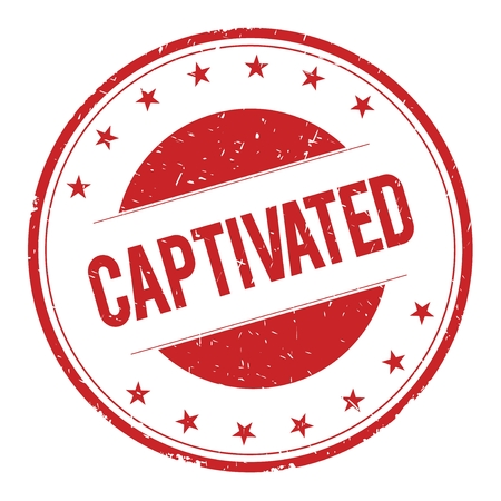 captivated: CAPTIVATED stamp sign text word logo red.