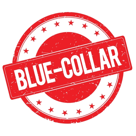 blue collar: BLUE COLLAR stamp sign text word logo red.