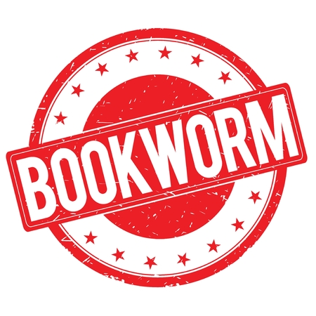 BOOKWORM stamp sign text word logo red.