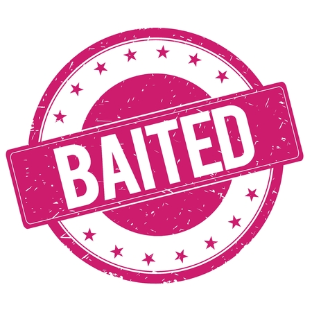 baited: BAITED stamp sign text word logo magenta pink.