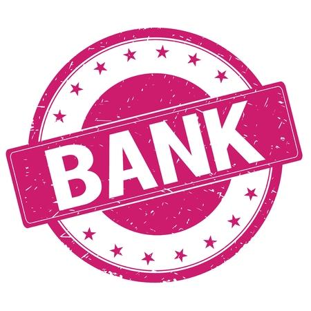 magenta: BANK stamp sign text word logo magenta pink.