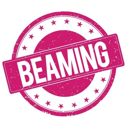beaming: BEAMING stamp sign text word logo magenta pink. Stock Photo